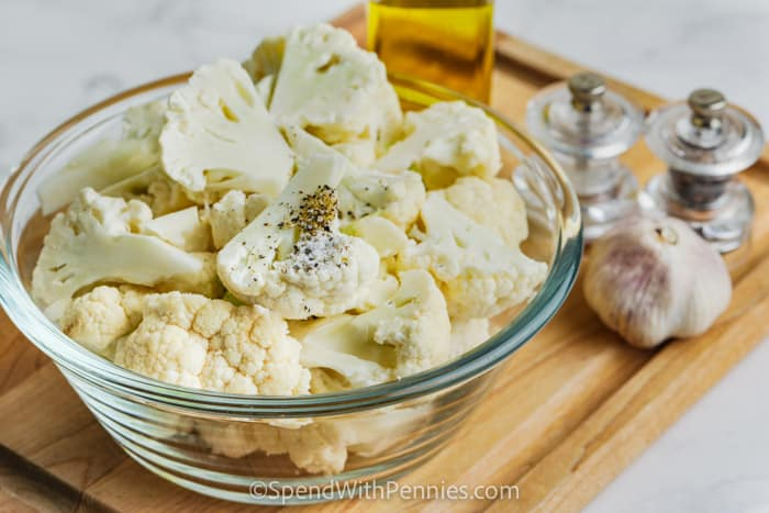 ingredients for Crispy Roasted Cauliflower on a wooden board