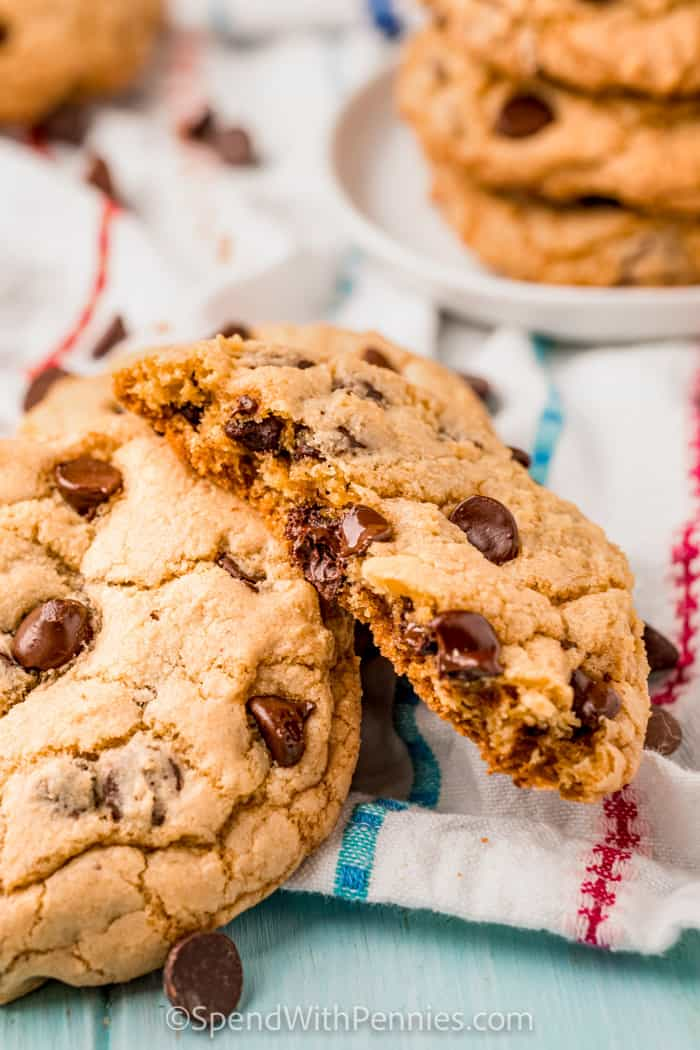 close up of Chocolate Chip Cookies in half