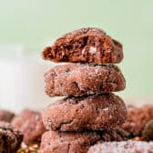 stack of Andes Stuffed Cookies with one with a bite taken out