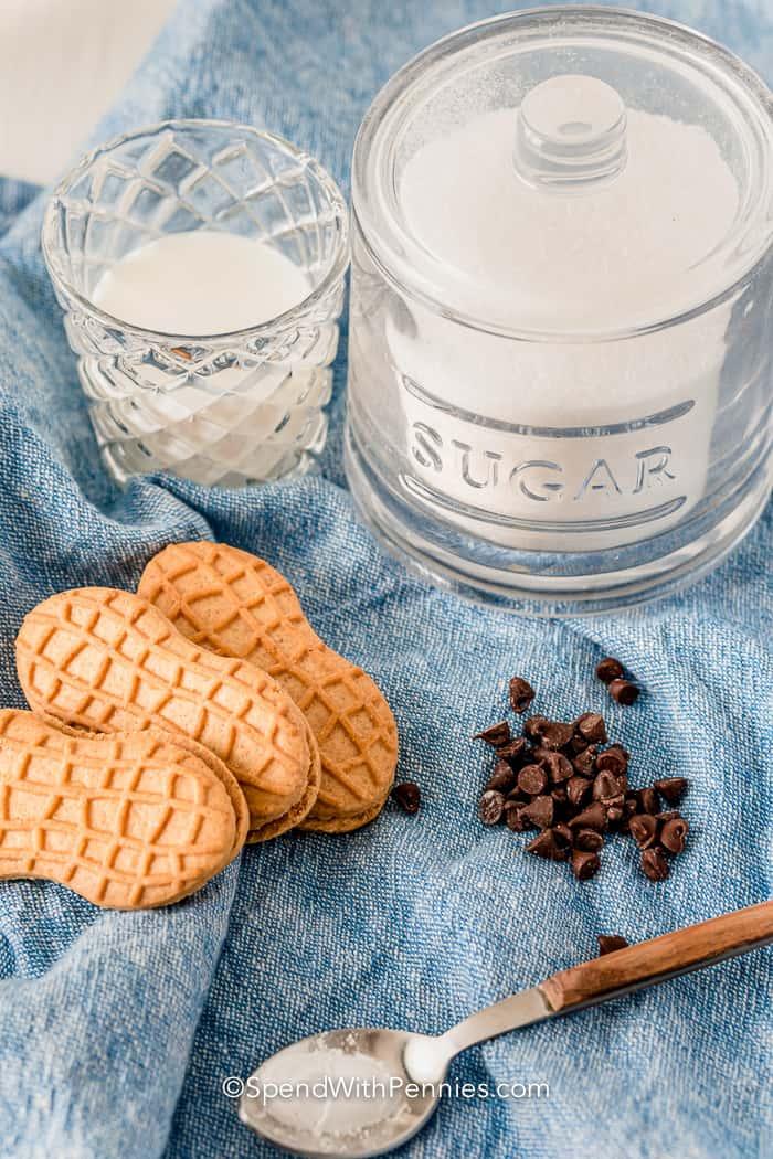 ingredients for Nutter Butter Mug Cake