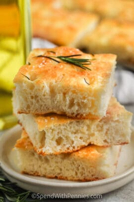 pile of Focaccia Bread on a plate