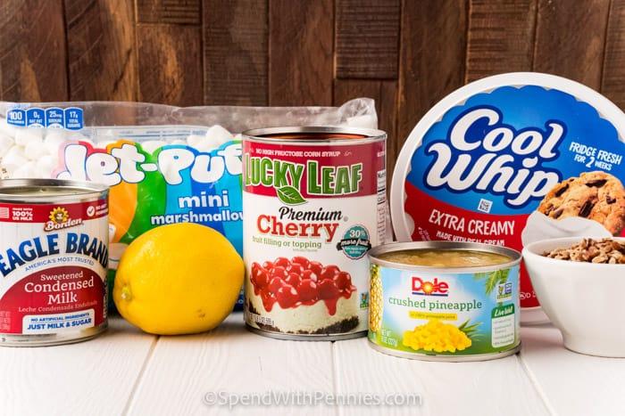 ingredients to make Frozen Cherry Fluff Salad