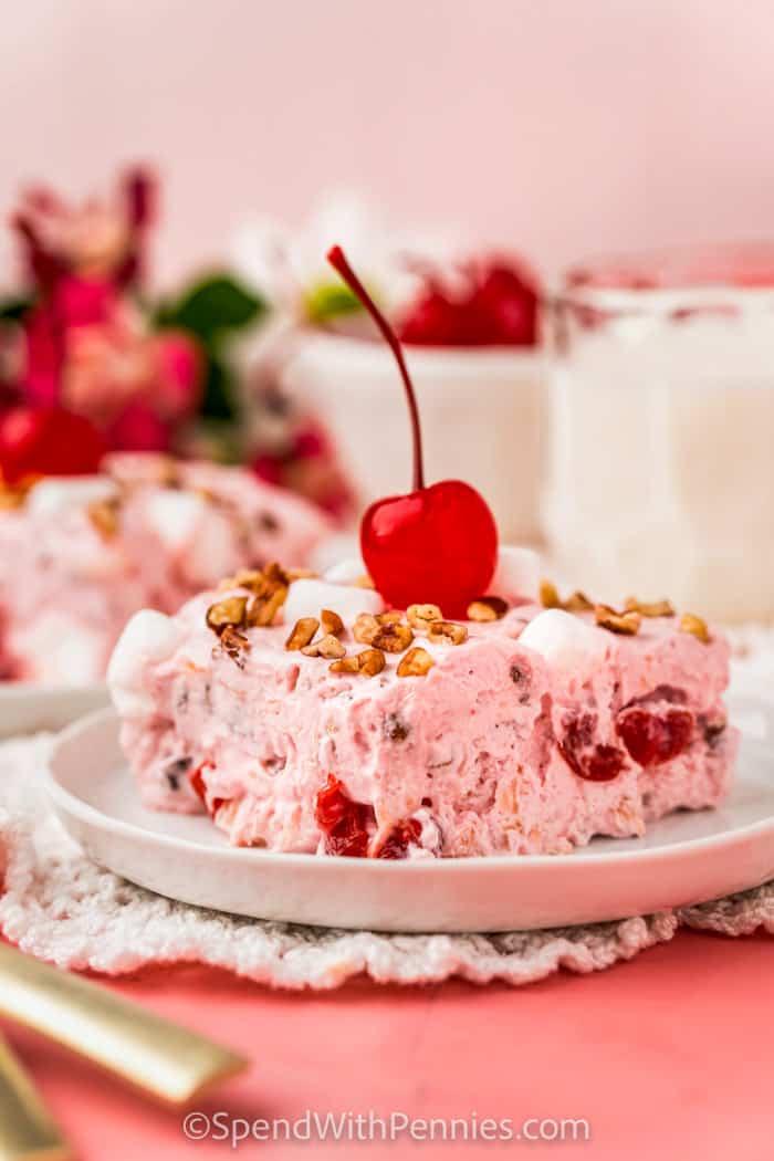 plated Frozen Cherry Fluff Salad