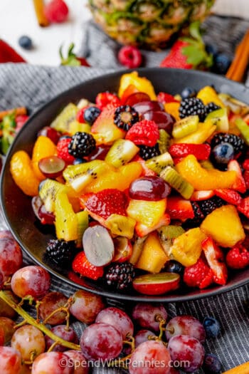 fruit salad in a dark bowl