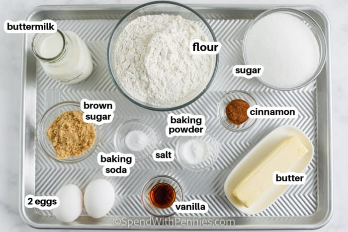 ingredients to make Cinnamon Bread with labels