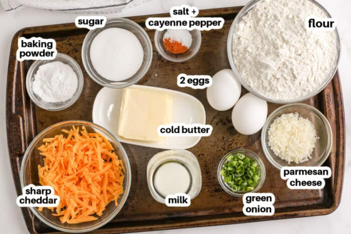 ingredients to make Cheese Muffins with labels