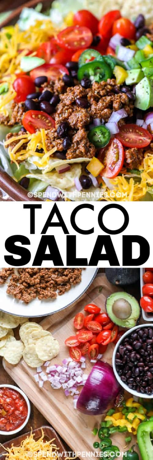 ingredients to make Easy Taco Salad with plated dish and a title