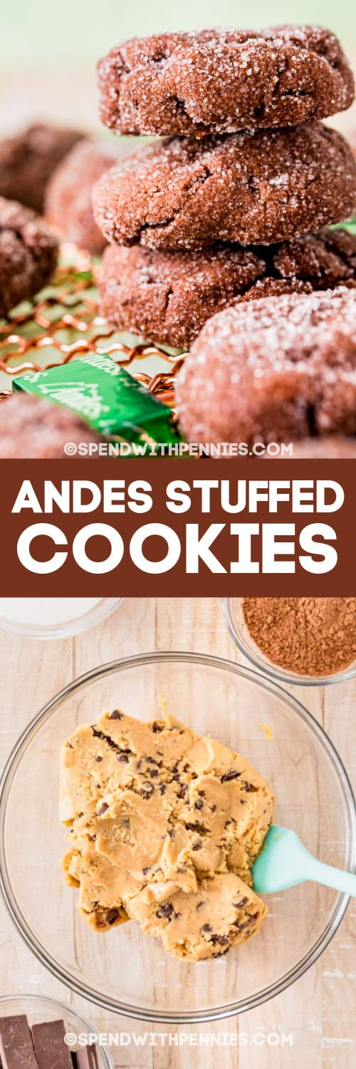stack of Andes Stuffed Cookies and ingredients with text