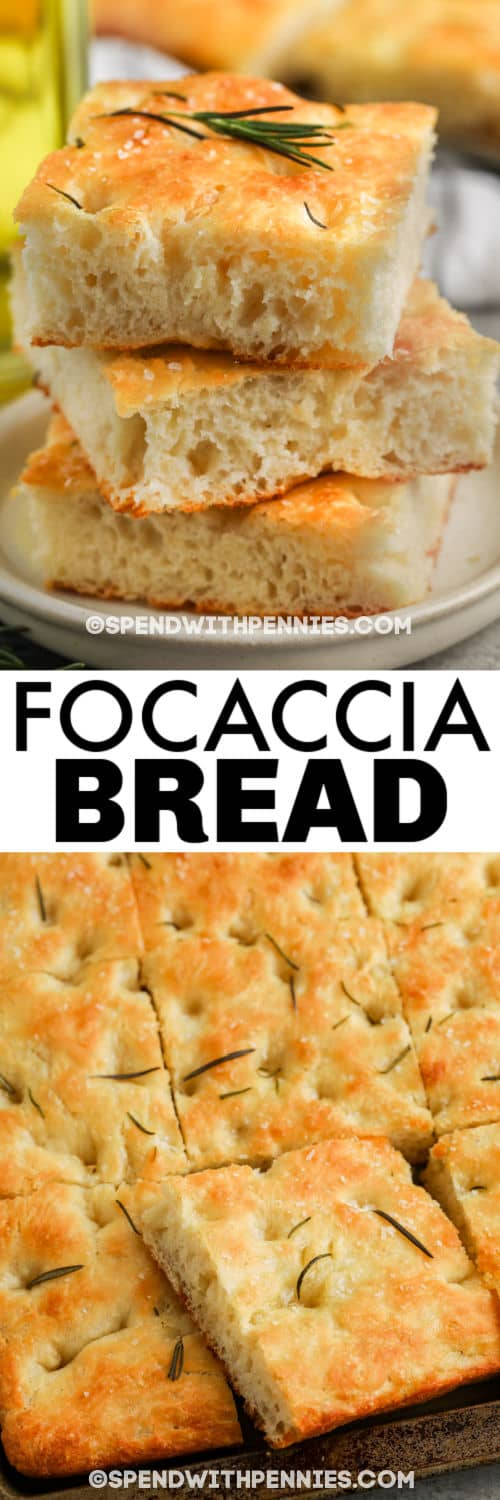 Focaccia Bread cooked in a pan and plated with a title