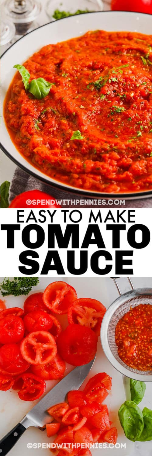 ingredients to make Fresh Tomato Sauce with finished dish and a title