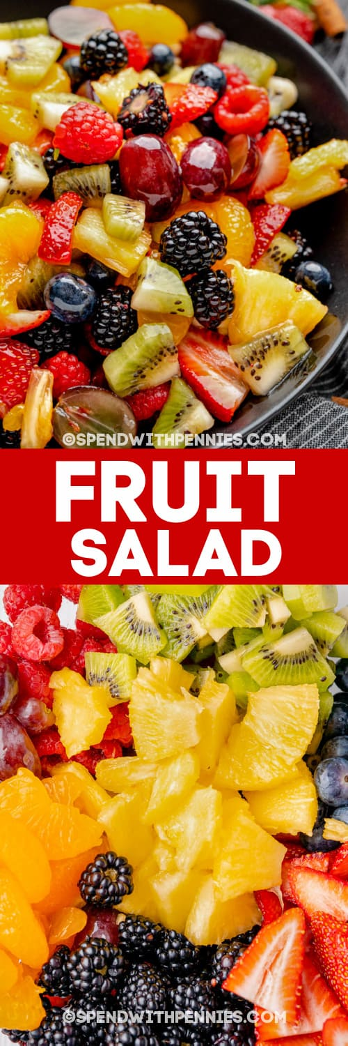 fruit salad and ingredients with text
