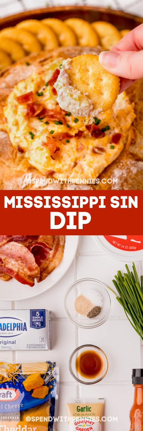 ingredients to make Mississippi Sin Dip and Mississippi Sin Dip in a bread bowl with writing