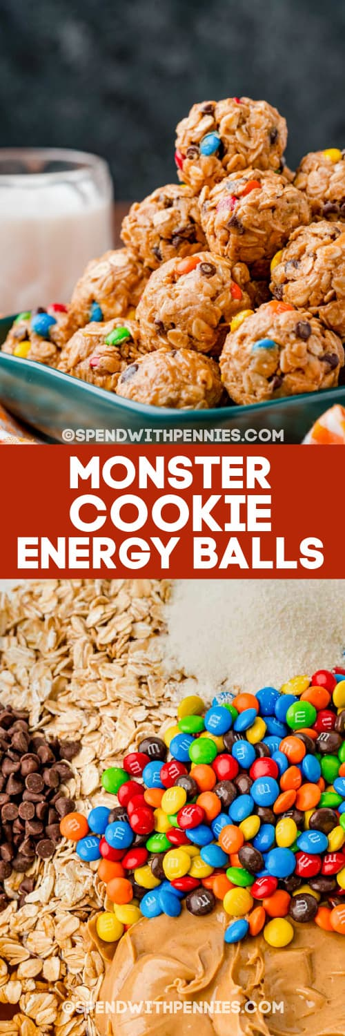monster cookie energy balls and ingredients with text