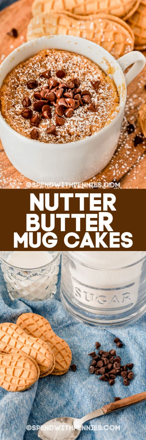 Nutter Butter Mug Cake & ingredients with a title