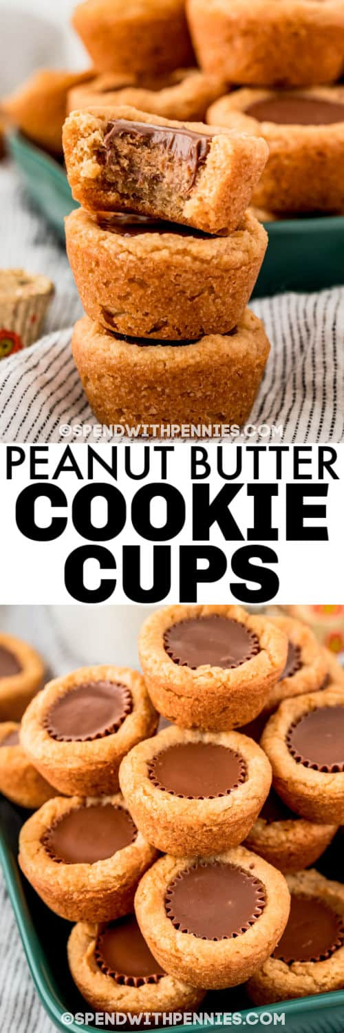 pile of Peanut Butter Cookies Cups and plated with a title