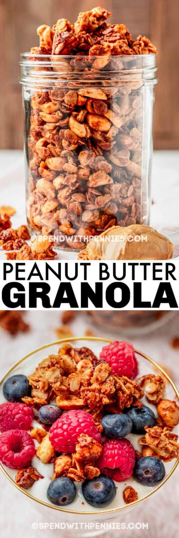 jar of Peanut Butter Granola with a yogurt parfait with writing