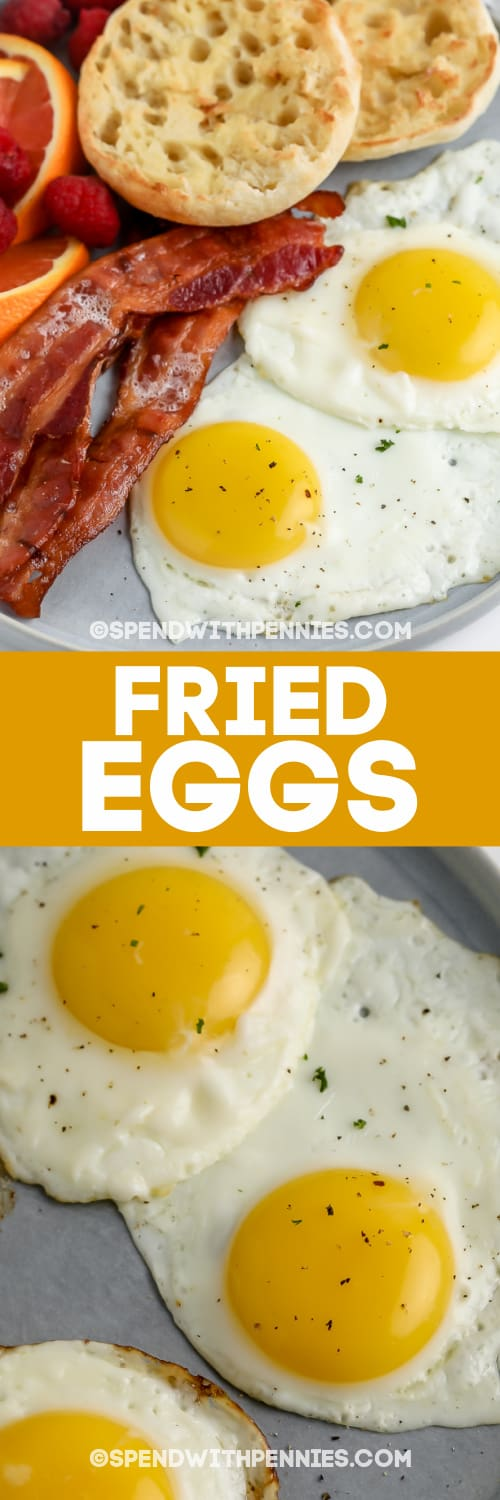 fried eggs on plates with bacon and english muffins with text