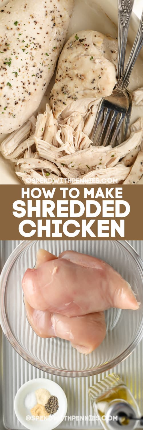 oven shredded chicken breasts and the ingredients needed to make it with text
