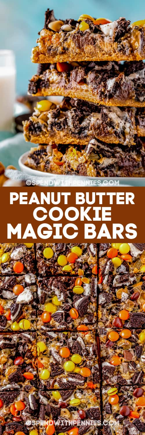 top view and side view of peanut butter cookie magic bars with text