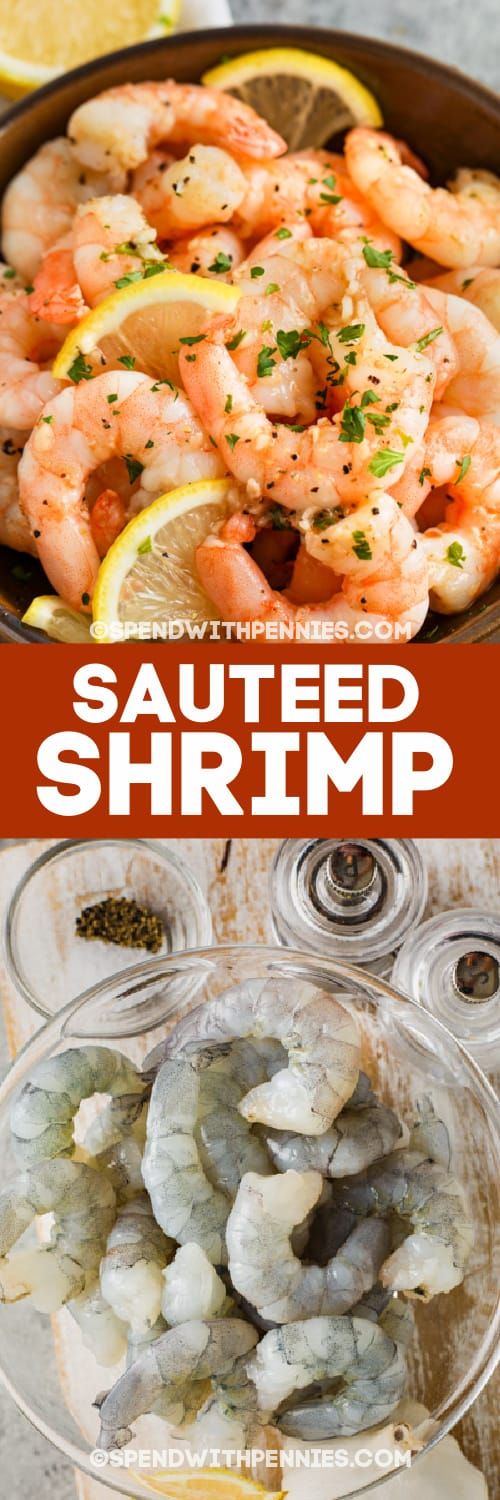 Sauteed Shrimp and ingredients with text