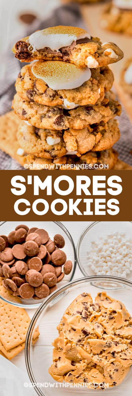 stack of s'mores cookies and ingredients with text