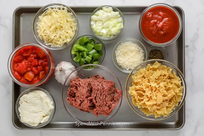 ingredients assembled to make lasagna skillet