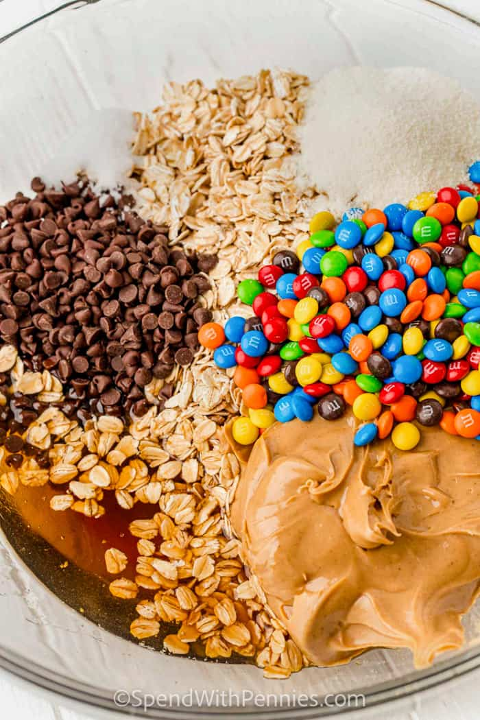 ingredients to make monster cookie energy balls in a bowl
