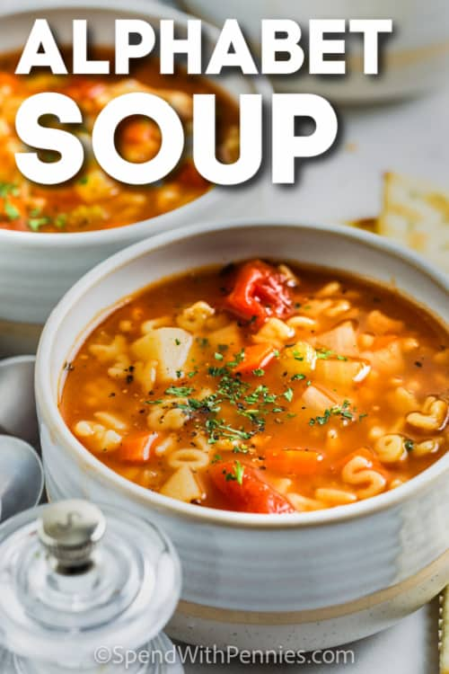 Alphabet Soup in a bowl with text
