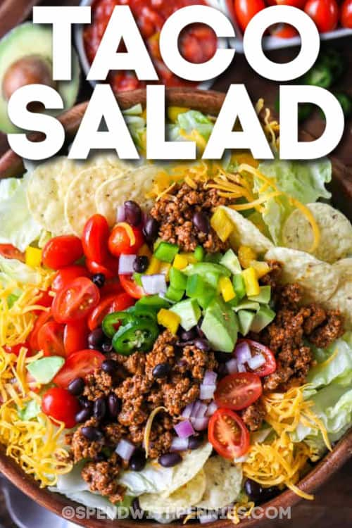 plated Easy Taco Salad with writing