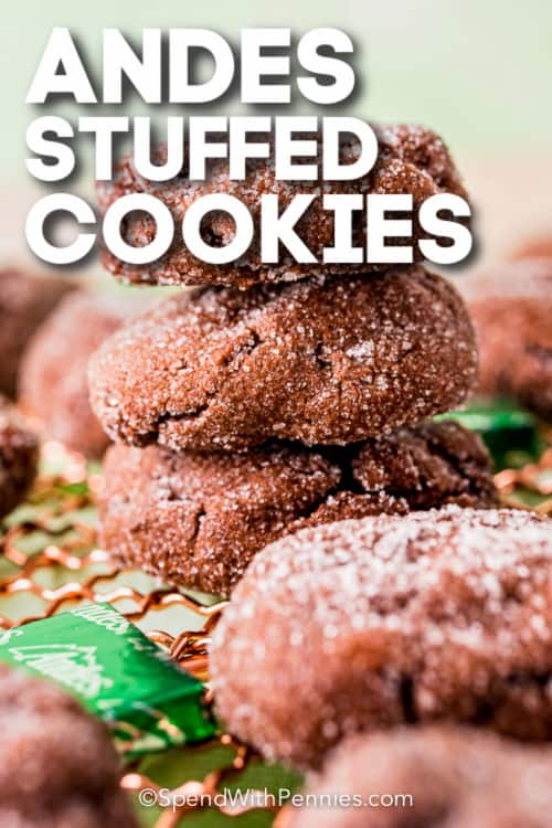 stack of Andes Stuffed Cookies with text