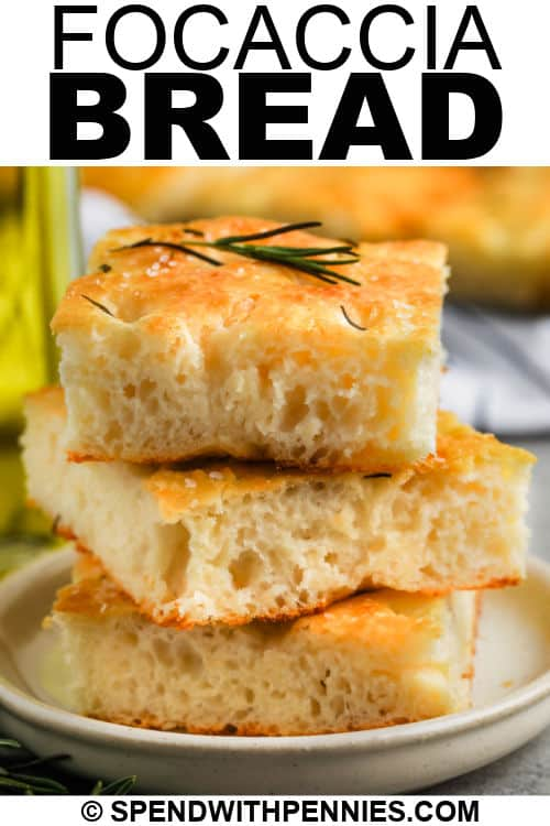 plated Focaccia Bread with a title