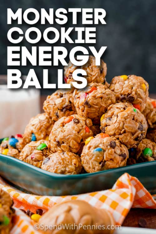 monster cookie energy balls with text