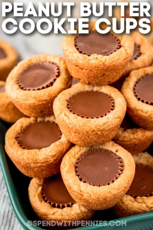 close up of Peanut Butter Cookies Cups on a plate