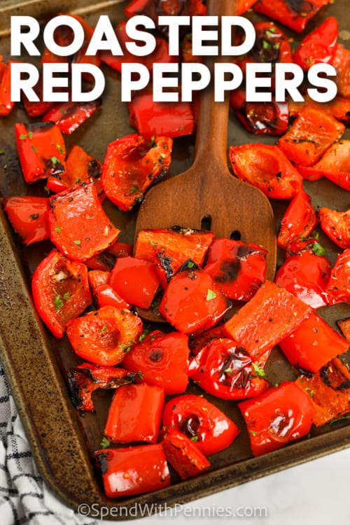 cooked Roasted Red Peppers with text
