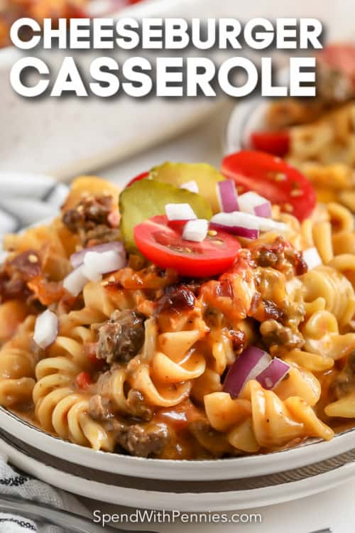 cheeseburger casserole on a plate with text