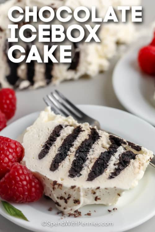 slice of Chocolate Icebox Cake with text