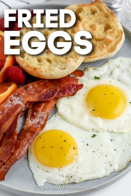 fried eggs, bacon, fruit, and english muffin with text