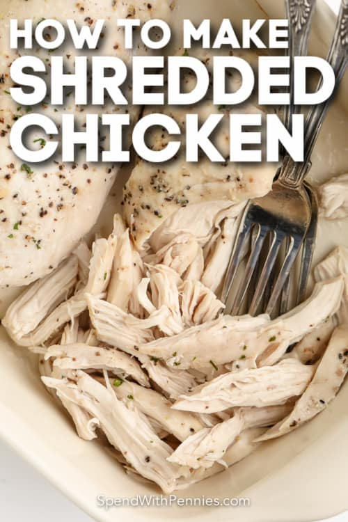 close up of oven shredded chicken breasts with text