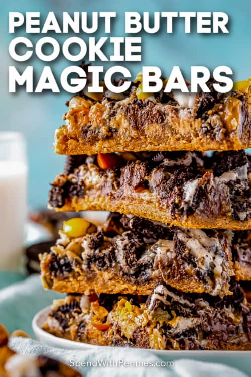 peanut butter cookie magic bars with text