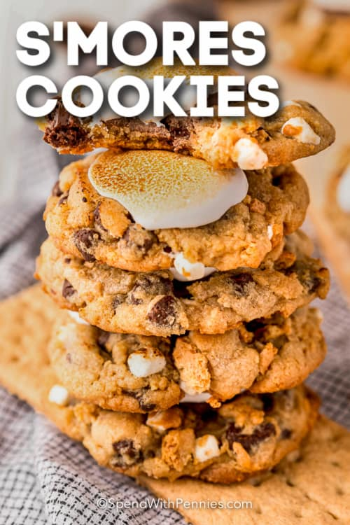 s'mores cookies with text