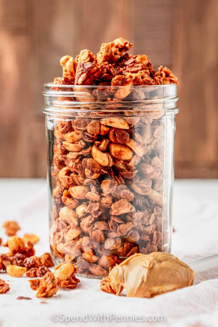 Peanut Butter Granola in in a cup