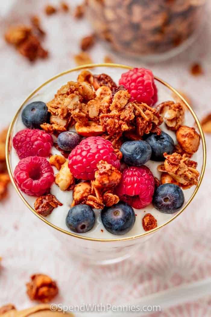 top view of Peanut Butter Granola on yogurt