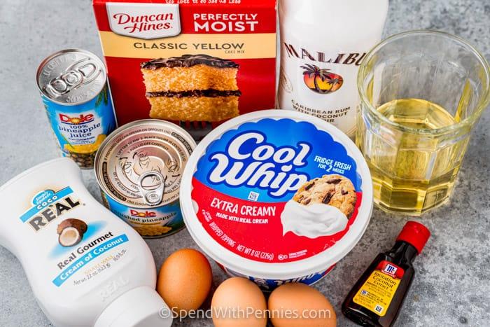 ingredients to make Pina Colada Cake
