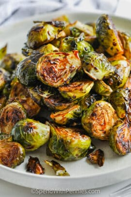 Roasted Balsamic Brussels Sprouts on a plate