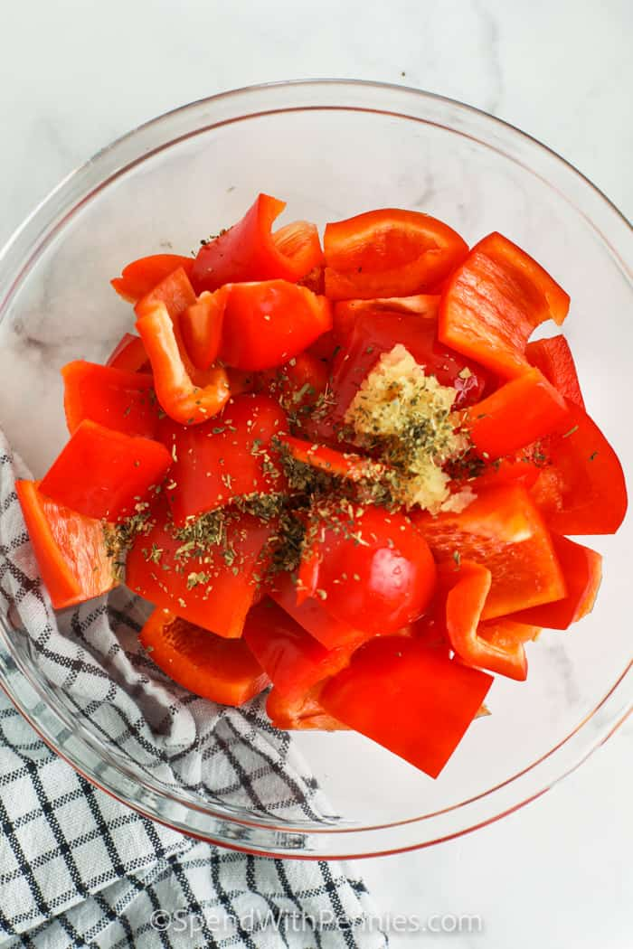 ingredients in a bowl to make Roasted Red Peppers