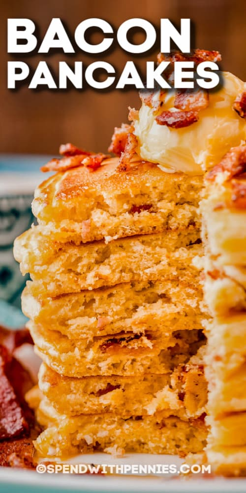stack of Bacon Pancakes with text
