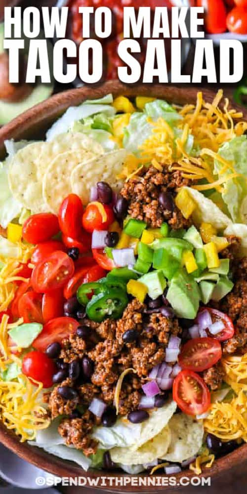 top view of plated Easy Taco Salad with writing