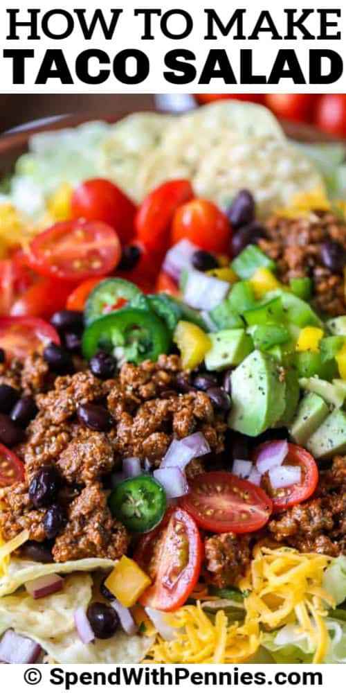 close up of Easy Taco Salad with writing