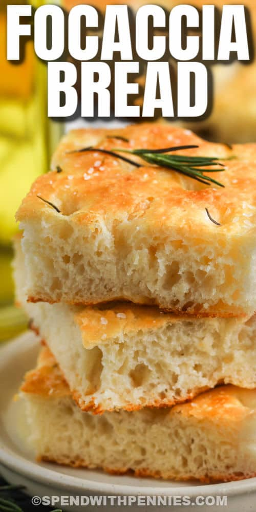 close up of Focaccia Bread with writing