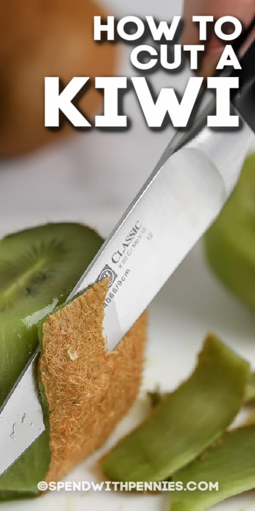 close up of cutting skin off of a kiwi with a knife with text